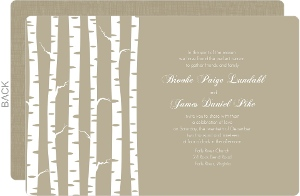 Taupe Winter Birch Wedding Invitation