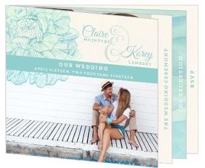 Romantic Watercolor Florals Booklet Wedding Invitation