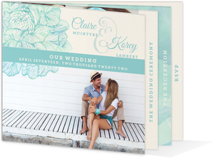 Romantic Watercolor Florals Booklet Wedding Invitation