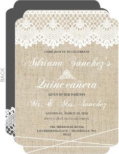 Vintage Burlap Lace Quinceanera Invitation
