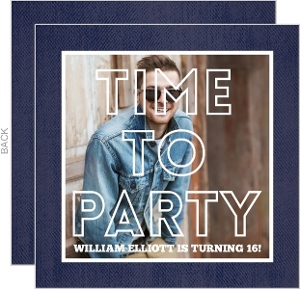 Denim Photo Birthday Invitation