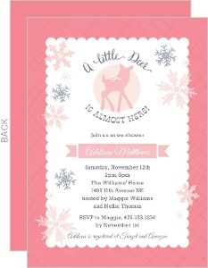 Pink Deer Snowflake Baby Shower Invitation