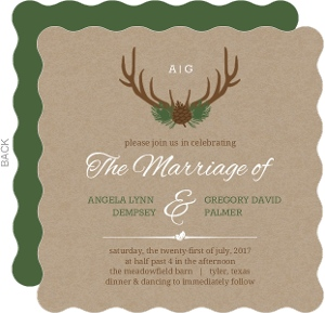 Rustic Deer Antlers Wedding Invitation