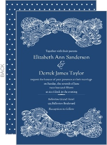 Navy Elegant Floral Lace Wedding Invitation