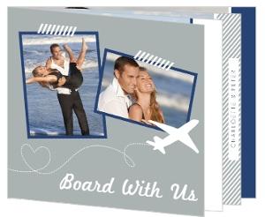 Destination Blue and Gray Plane  Wedding Invite
