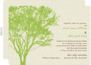 Cream and Green Rustic Tree  Wedding Invitation