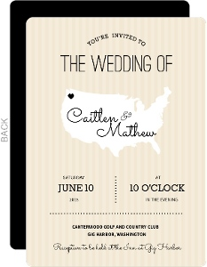 Cream And Black United States Map  Wedding Inviation