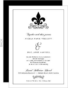 Black And White Fleur De Lis Wedding Invite