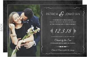 Vintage Chalkboard Photo Wedding Invitation