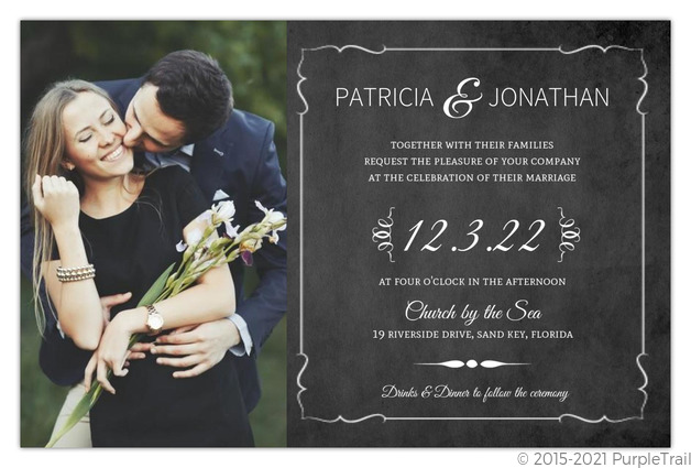 Vintage Chalkboard Photo Wedding Invitation