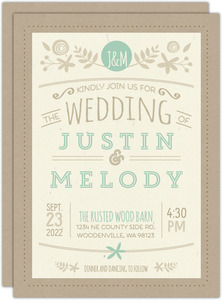 Rustic Mint and Kraft Wedding Invitation