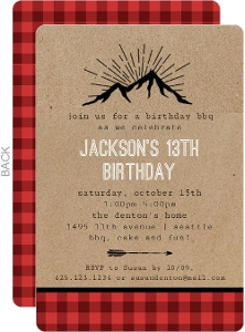 Plaid Kraft Birthday Party Invitation