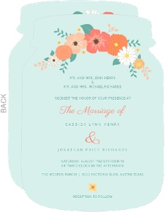 Mint Coral And Peach Country Floral Wedding Invitation