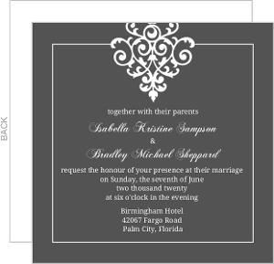 Gray and Elegant White Flourish  Wedding Invitation