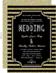 Roaring Glitter Gold Wedding Invitation