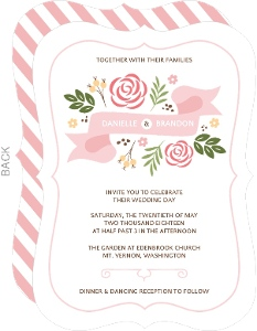 Soft Pink Whimsical Florals Wedding Invitation