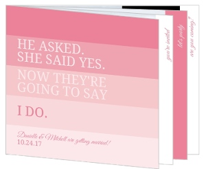 All Pink Ombre  Booklet Wedding Invite