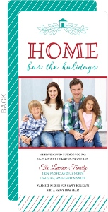 Red & Turquoise Holiday Photo Moving Announcement
