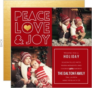 Cutout Peace Love Joy Holiday Photo Card
