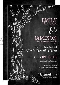 Pink Country Chalkboard Tree  Wedding Invitation