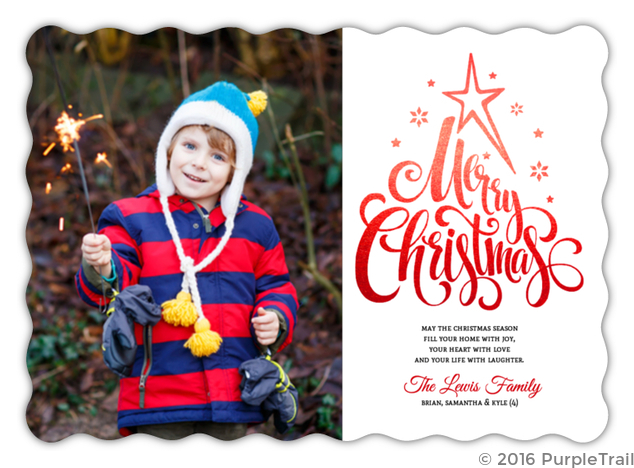 Beautiful Red Typography Christmas Photo Card