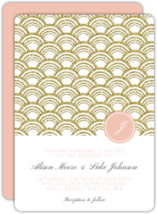 Gold Glitter Art Deco Pattern Wedding Invitation