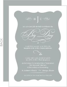Elegant Gray Frame Wedding Invitation