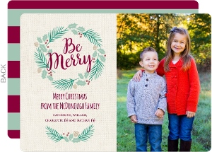 Be Merry Pine Wreath Photo Card