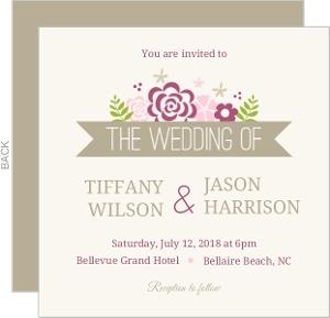 Pink Flowers Wedding Invitation