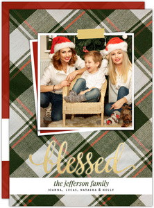 Olive Green Plaid Pattern Holiday Photo Card