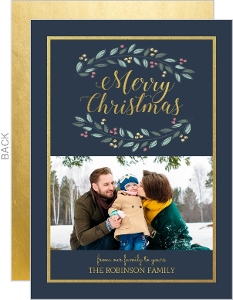 Gray Blue And Gold Frame Holiday Photo Card