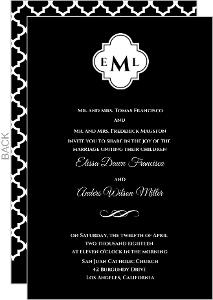 Black Monogram Wedding Invitation
