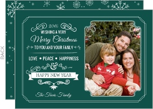 Winter Green Frame Holiday Photo Card