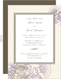 Vintage Purple Floral Wedding Invite