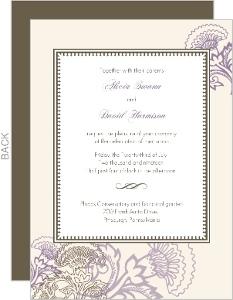 Vintage Purple Floral  Wedding Invite
