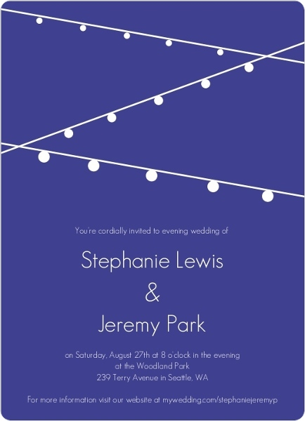 Simple Blue With Hanging Party Lights Wedding Invitation