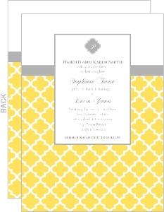Yellow And Gray Pattern Wedding Invite
