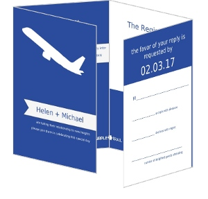Blue and White Destination Wedding  Wedding Invitation
