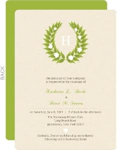Green Leaf Monogram Wedding Invite