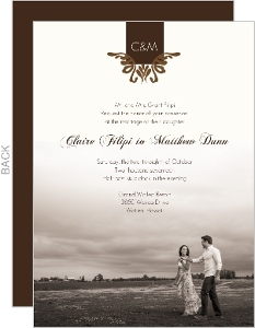 Elegant Textured Brown Wedding Invitation