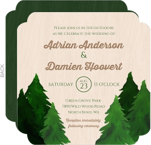Rustic Evergreen Tree Gay Wedding Invitation