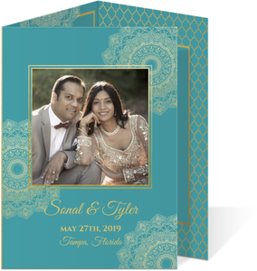 Teal and Faux Gold Tri-fold Mandala Wedding Invitation