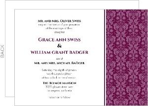 Sangria and Black Elegant Damask  Wedding Invitation