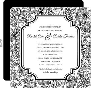 Black And White Lace Wedding Invite
