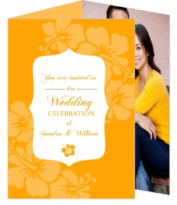 Orange Flowers Destination Wedding Invite