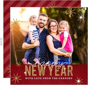 Gold Glitter Type New Years Photo Card