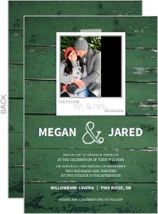 Green Wood Grain Photo Wedding Invite