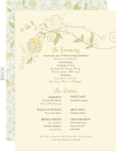Beautiful Floral Pattern Wedding Program Card