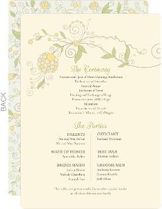 Beautiful Floral Pattern Wedding Program Card