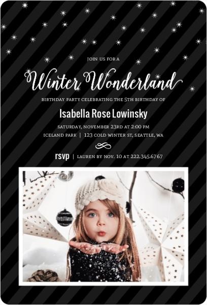 Modern Black & White Winter Birthday Party Invitation